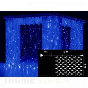 Завеса 720 сини и 80 бели мигащи LED лампички, размер 2 х 4м, черен кабел