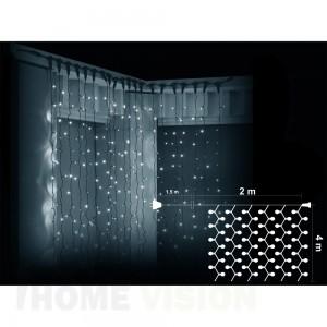 Завеса 800 бели LED лампички, размер 2 х 4м, черен кабел