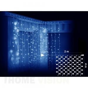 Завеса 800 сини LED лампички, размер 2 х 4м, бял кабел
