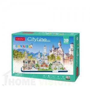 3D Пъзел Cubic Fun от 178 части - City Line Bavaria