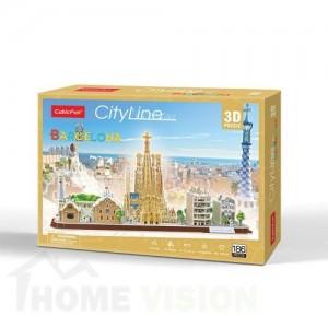 3D Пъзел Cubic Fun от 186 части - City Line Barcelona