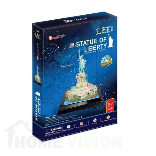 3D Пъзел Cubic Fun от 37 части и LED светлини - Statue of Liberty