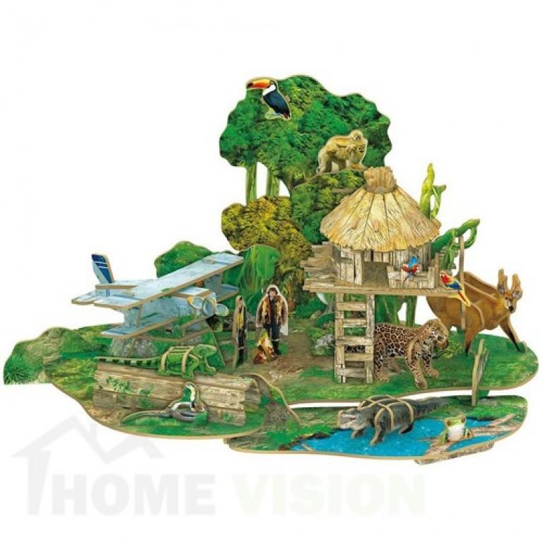 3D Пъзел Cubic Fun от 67 части - Амазонска дъждовна гора