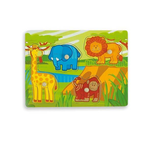 Дървен пъзел Andreu toys – Джунгла с подсказка