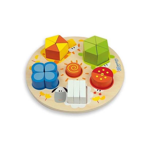 Дървен пъзел Andreu toys – Цифри, форми и цветове