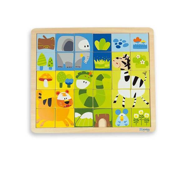 Дървен пъзел Andreu toys от 30 части - Джунгла