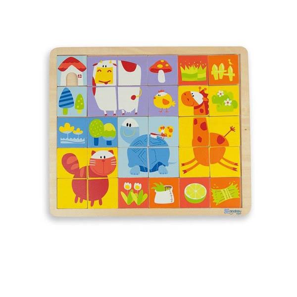 Дървен пъзел Andreu toys от 30 части – Ферма
