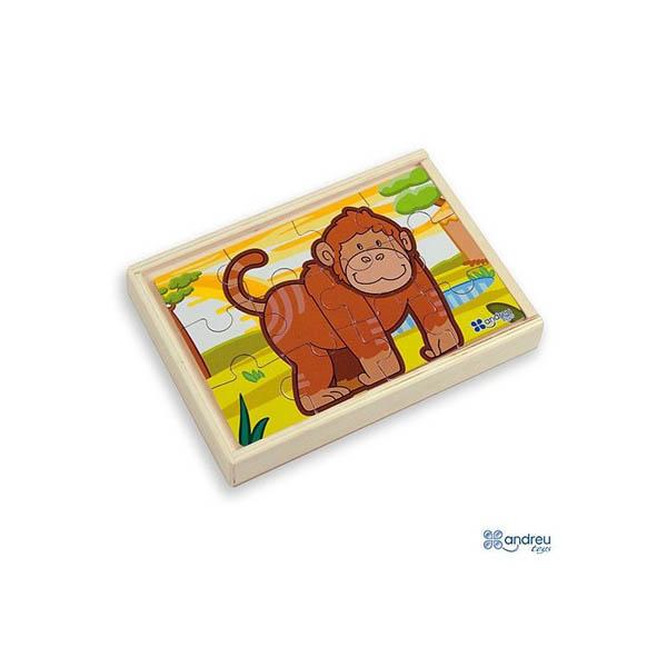 Комплект от 4 дървени пъзела Andreu toys - Джунгла