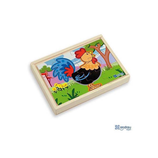 Комплект от 4 дървени пъзела Andreu toys – Ферма