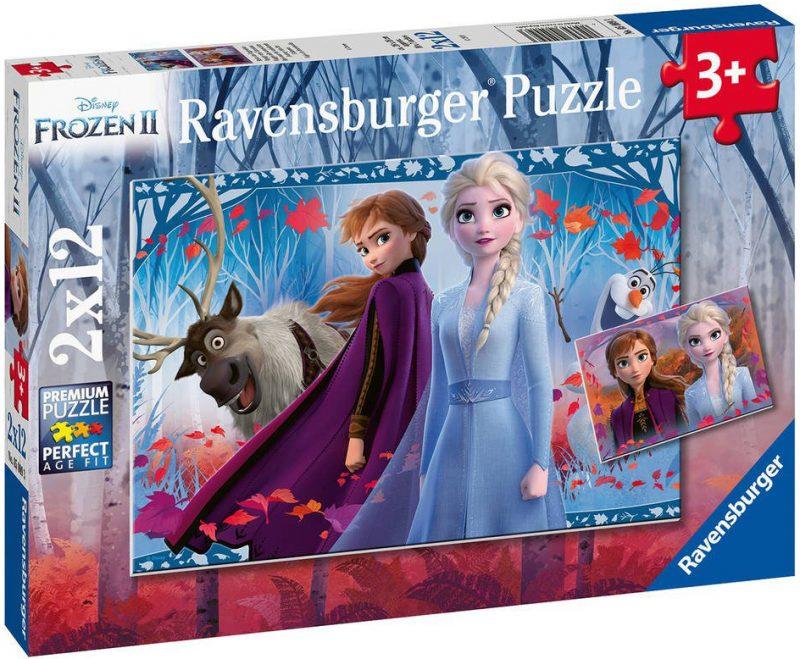 Пъзел Ravensburger от 2 x 12 части - Пътуване към непознатото, Замръзналото кралство 2