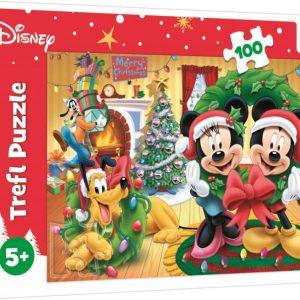 Пъзел Trefl от 100 части - Магията на Коледа с Мики, Мини и Плуто