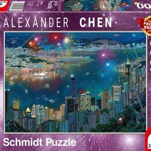 Пъзел Schmidt от 1000 части - Фойерверки над Хонг Конг, Александър Чен