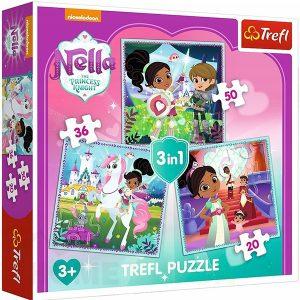 Пъзел Trefl 3 в 1 - Нела, принцесата рицар