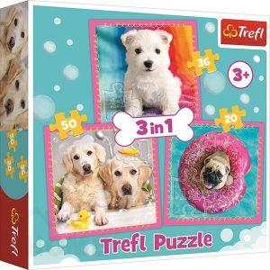 Пъзел Trefl 3 в 1 - Кучета в банята