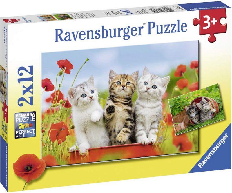 Пъзел Ravensburger от 2 x 12 части - Котешки приключения