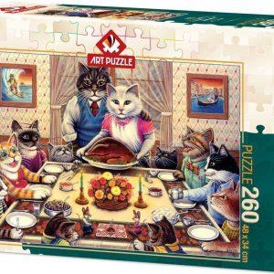 Пъзел Art Puzzle от 260 части - Семейство котки на банкет