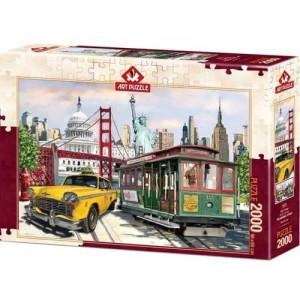 Пъзел Art Puzzle от 2000 части - САЩ, Колаж