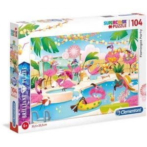 Холограмен пъзел Clementoni от 104 части - Фламинго парти