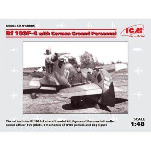1:48 Германски изтребител Месершмит Бф 109Ф-4 с наземен персонал (Bf 109F-4 with German Ground Personnel) - 8 фигури
