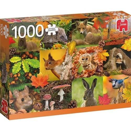 Пъзел Jumbo от 1000 части - Есенни животни