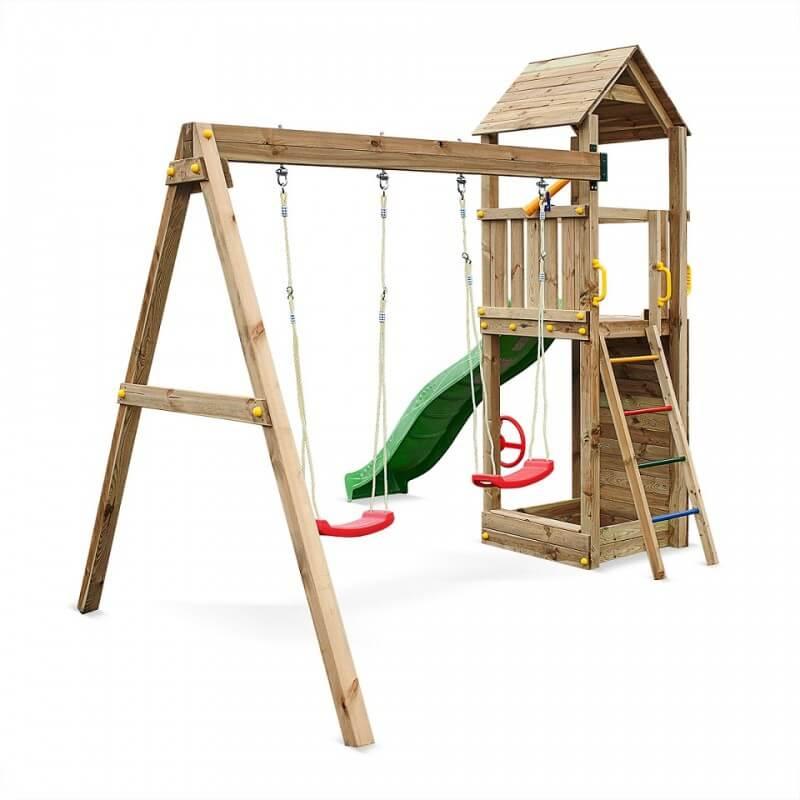 Fungoo FLAPPI дървена детска площадка с пързалка и 2 люлки