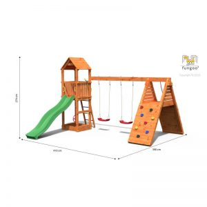 Fungoo FLEPPI дървена детска площадка с пързалка и люлки