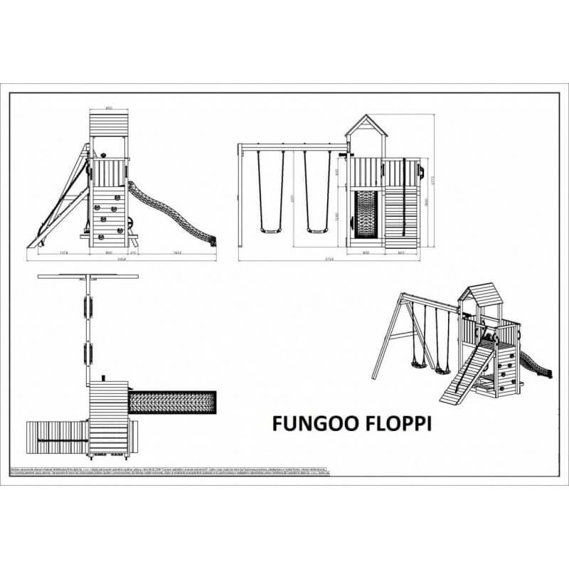 Fungoo FLOPPI дървена детска площадка с пързалка и люлки