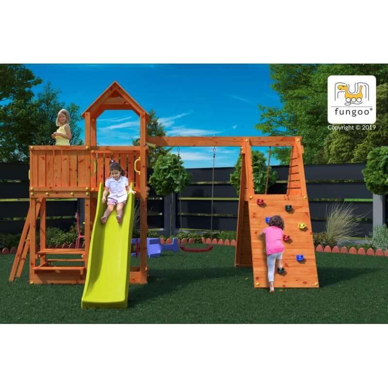 Fungoo FLUPPI дървена детска площадка с пързалка и люлки