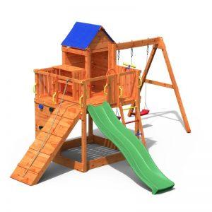 Fungoo TREEHOUSE дървена детска площадка с пързалка и люлки