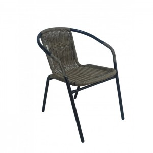Градински стол метал / PVC ратан SC-037 капучино