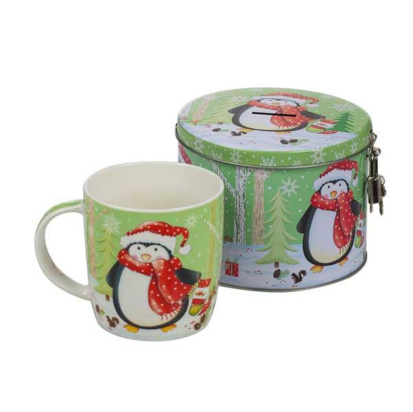 Коледна чаша MUG Пингвинче с касичка