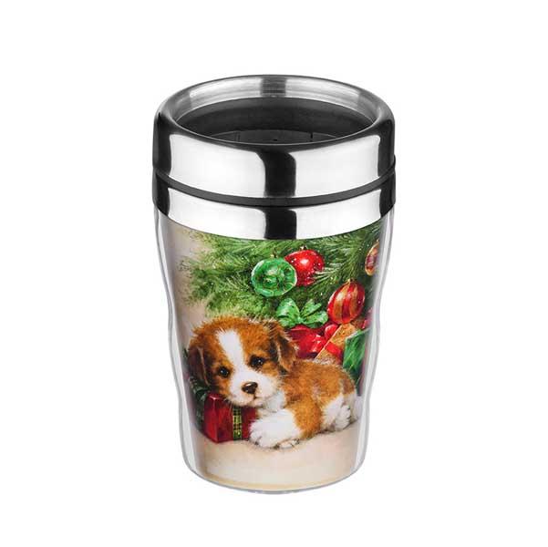 Коледна термо чаша Куче с елха