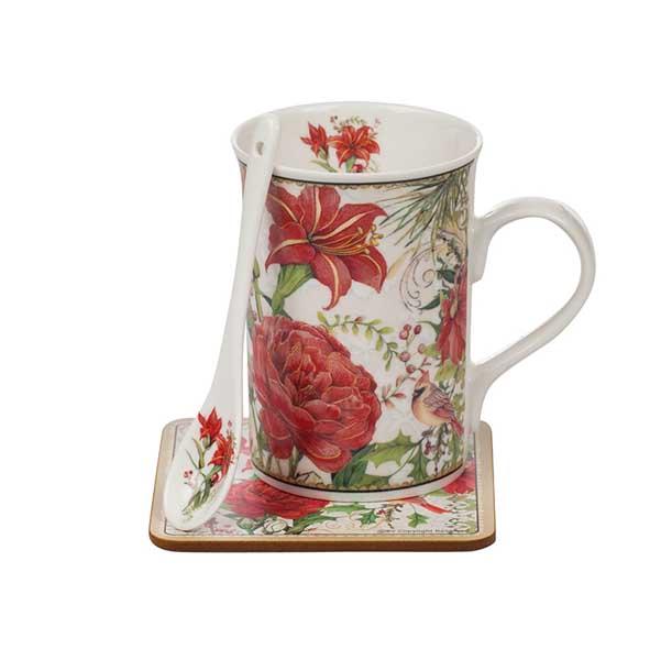 Порцеланова чаша Коледни цветя с лъжичка