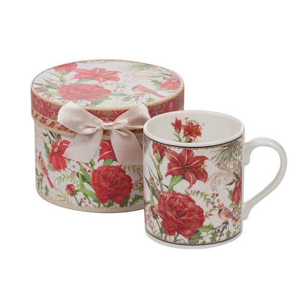 Порцеланова чаша MUG Коледни цветя