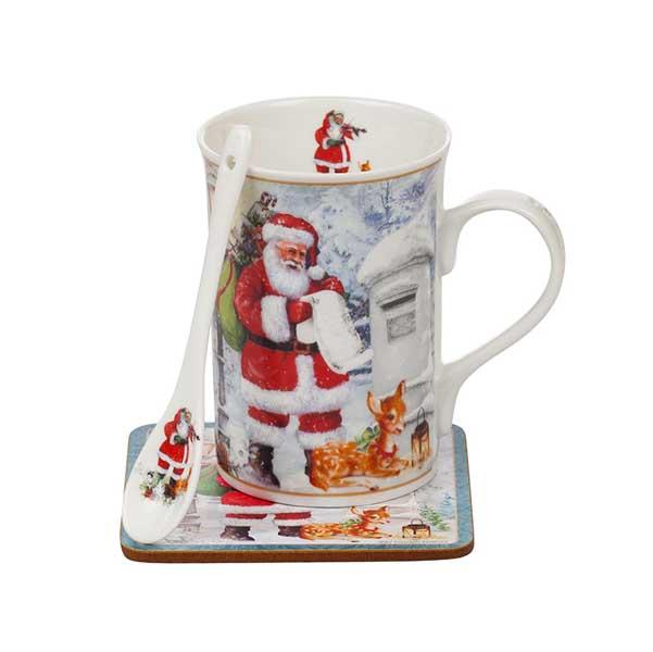 Порцеланова чаша с лъжичка Дядо Коледа