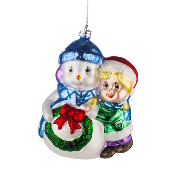 Стъклена играчка за елха Дете и Снежен човек