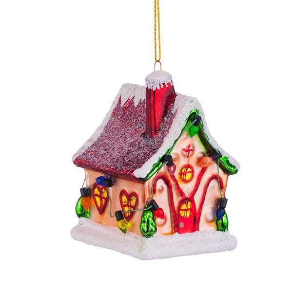 Стъклена играчка за елха Коледна къщичка