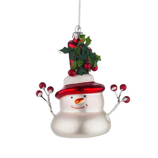 Стъклена играчка за елха Снежен човек с шапка