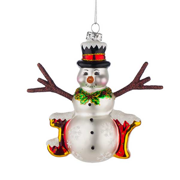 Стъклена играчка за елха Снежко с надпис