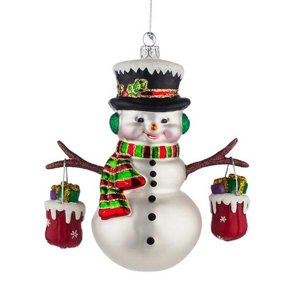 Стъклена играчка за елха Снежко с подаръци