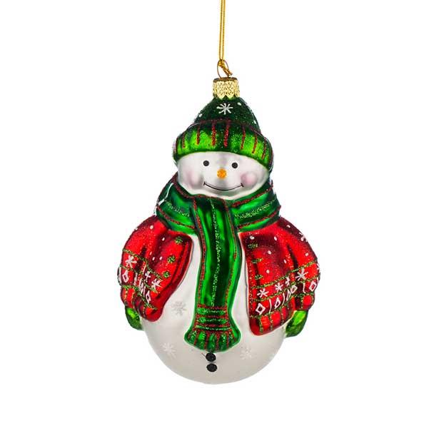 Стъклена коледна играчка Снежен човек