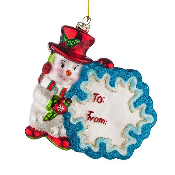 Стъклена коледна играчка Снежко с картичка