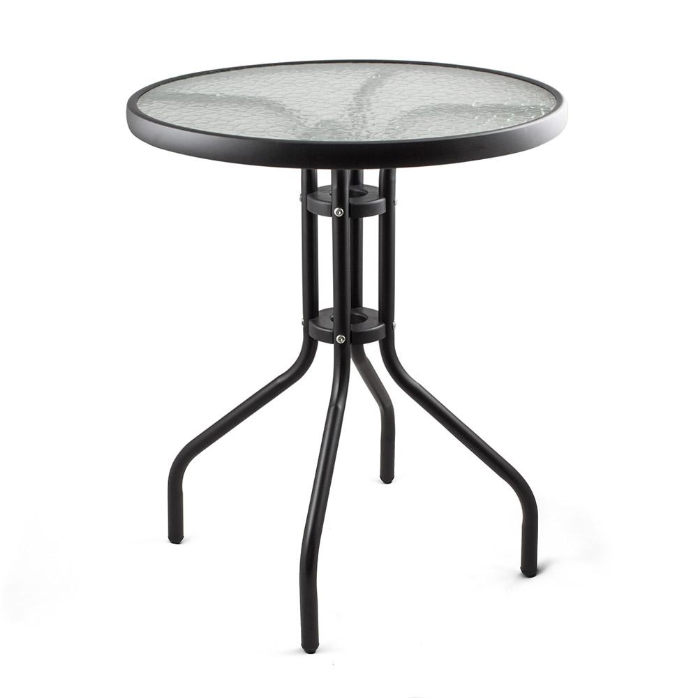 Метална маса със стъклен плот Muhler